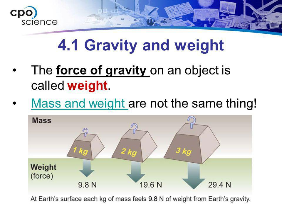 4.1 Gravity and weight The force of gravity on an object is called weight.