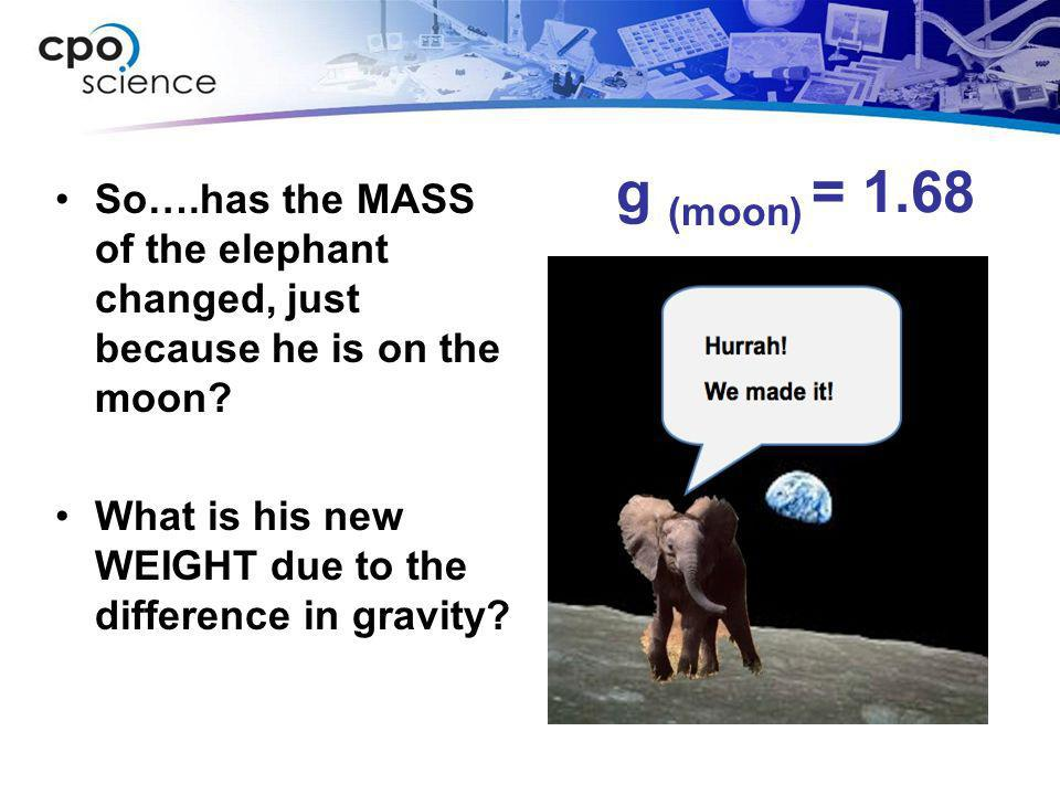 g (moon) = 1.68 So….has the MASS of the elephant changed, just because he is on the moon.