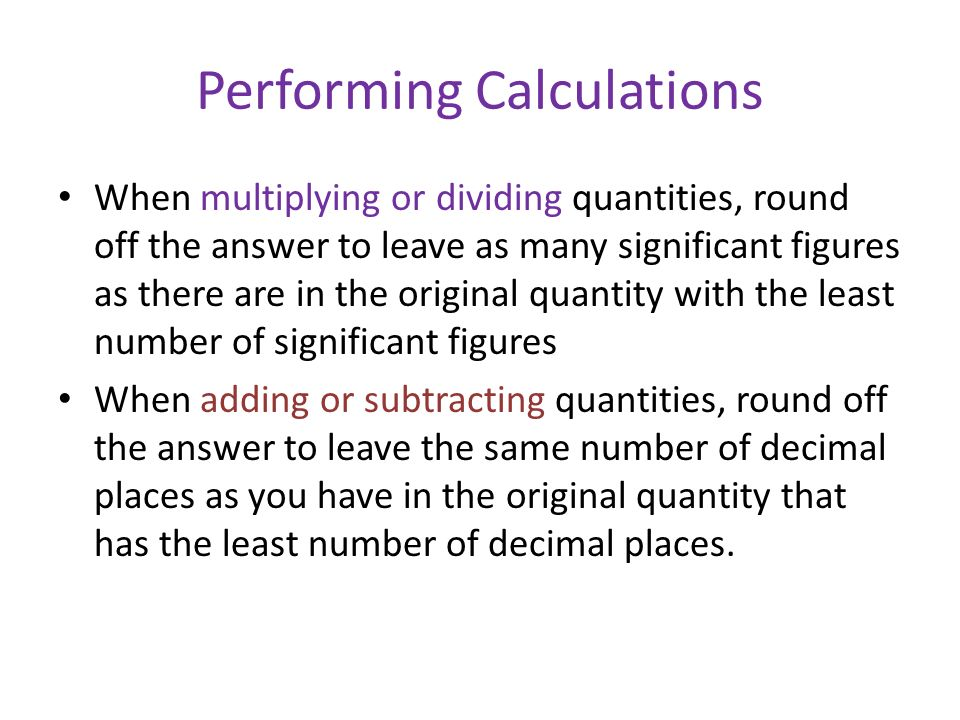 Performing Calculations