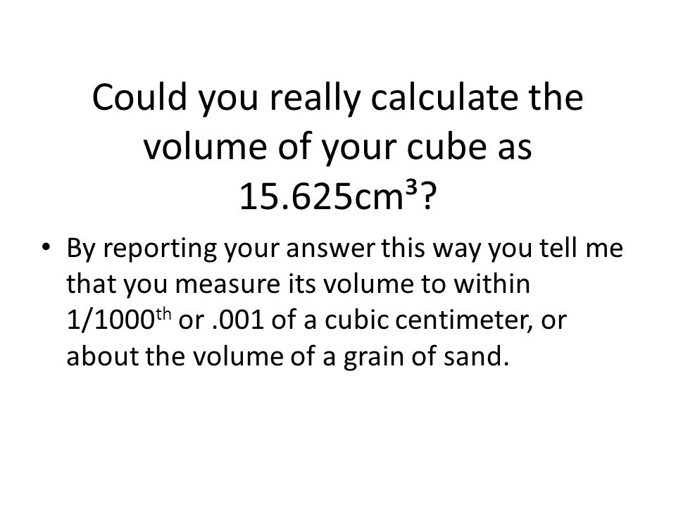 Could you really calculate the volume of your cube as 15.625cm³