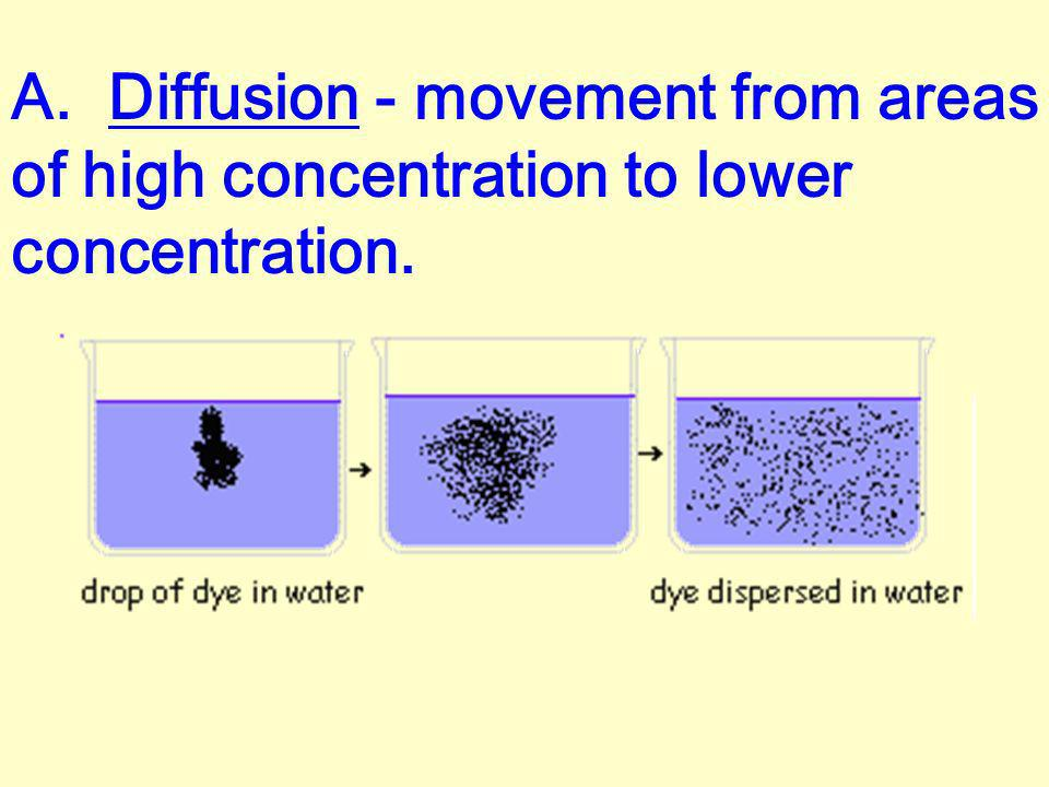 A. Diffusion - movement from areas of high concentration to lower concentration.