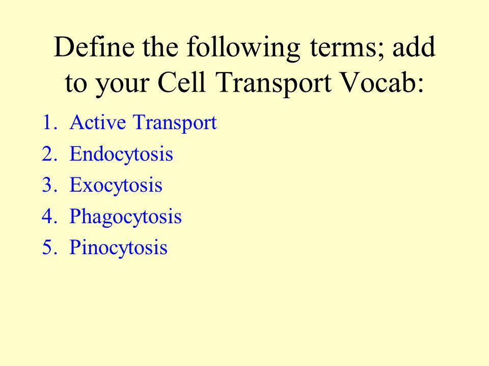 Define the following terms; add to your Cell Transport Vocab: