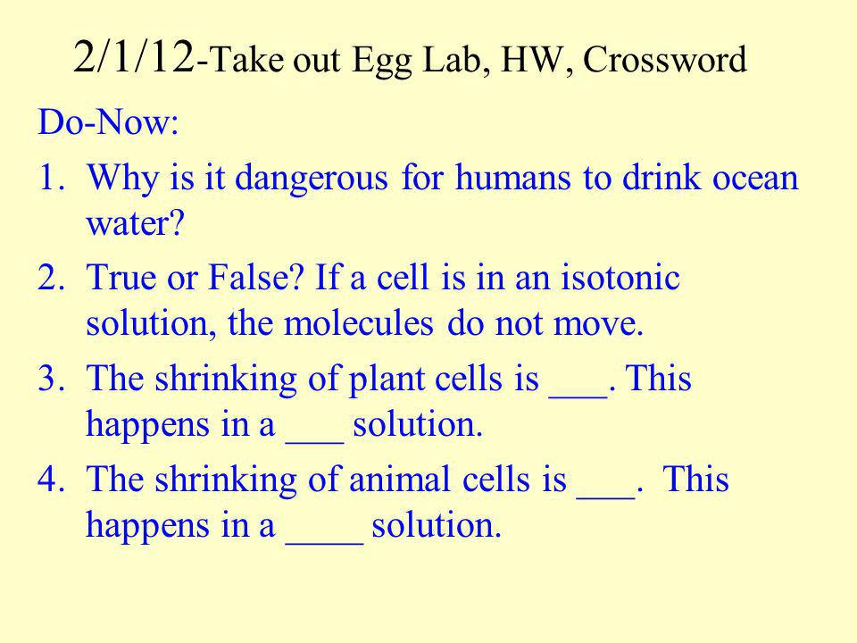 2/1/12-Take out Egg Lab, HW, Crossword