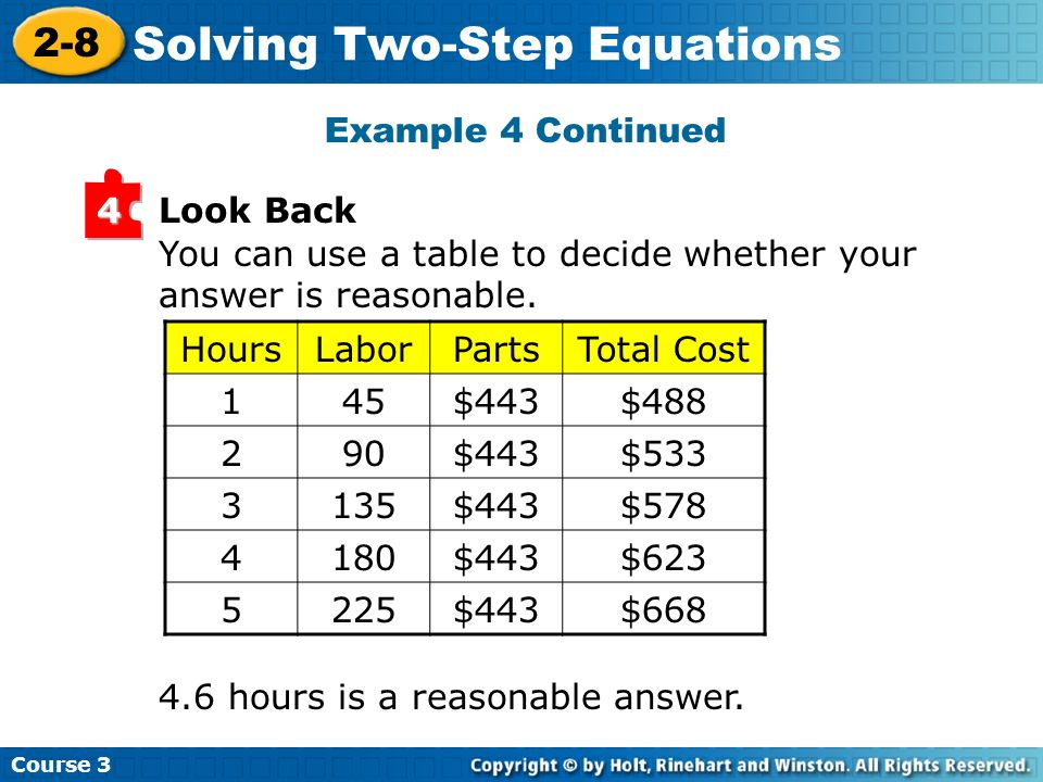 Example 4 Continued Look Back. 4. You can use a table to decide whether your answer is reasonable.
