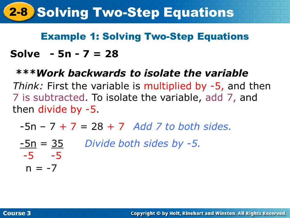 Example 1: Solving Two-Step Equations