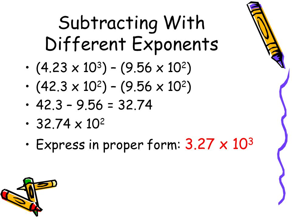 Subtracting With Different Exponents