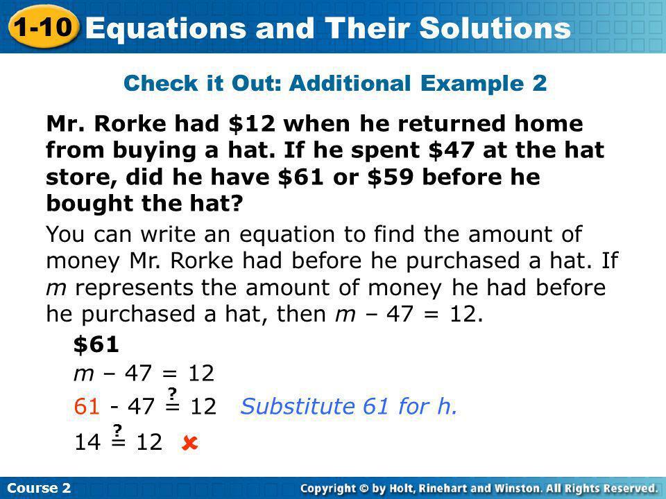 Check it Out: Additional Example 2