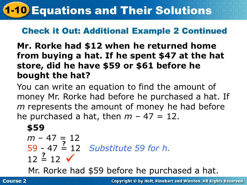 Check it Out: Additional Example 2 Continued