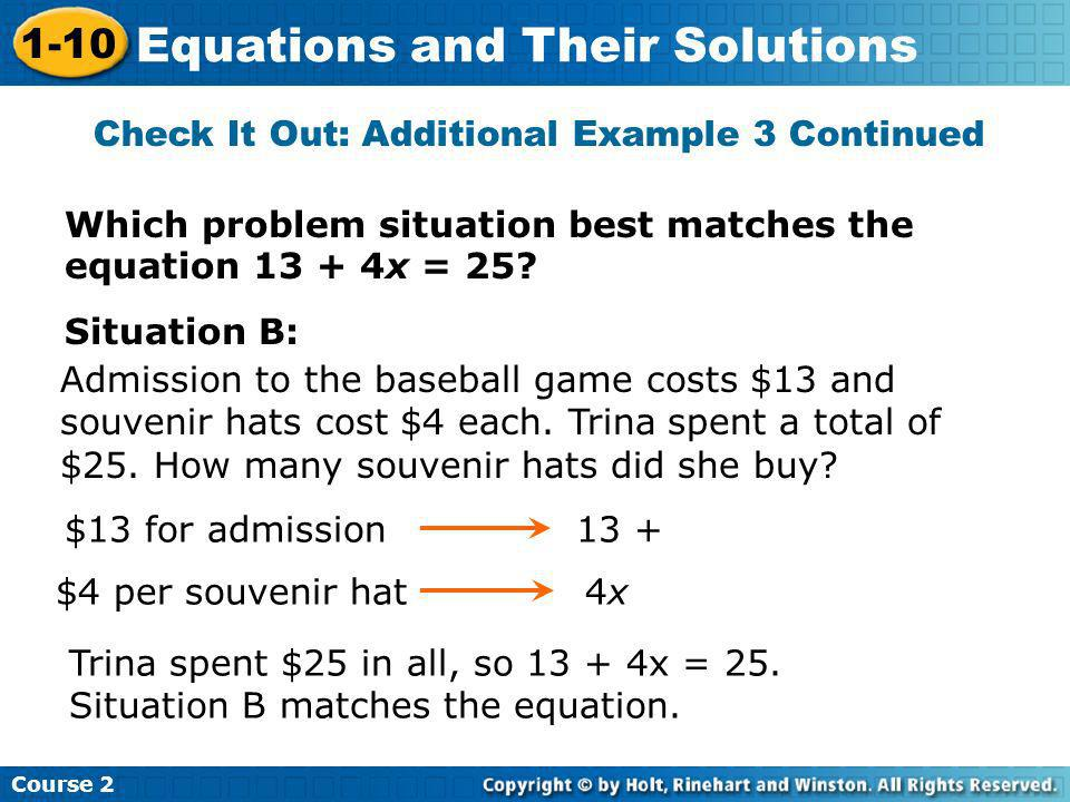 Check It Out: Additional Example 3 Continued