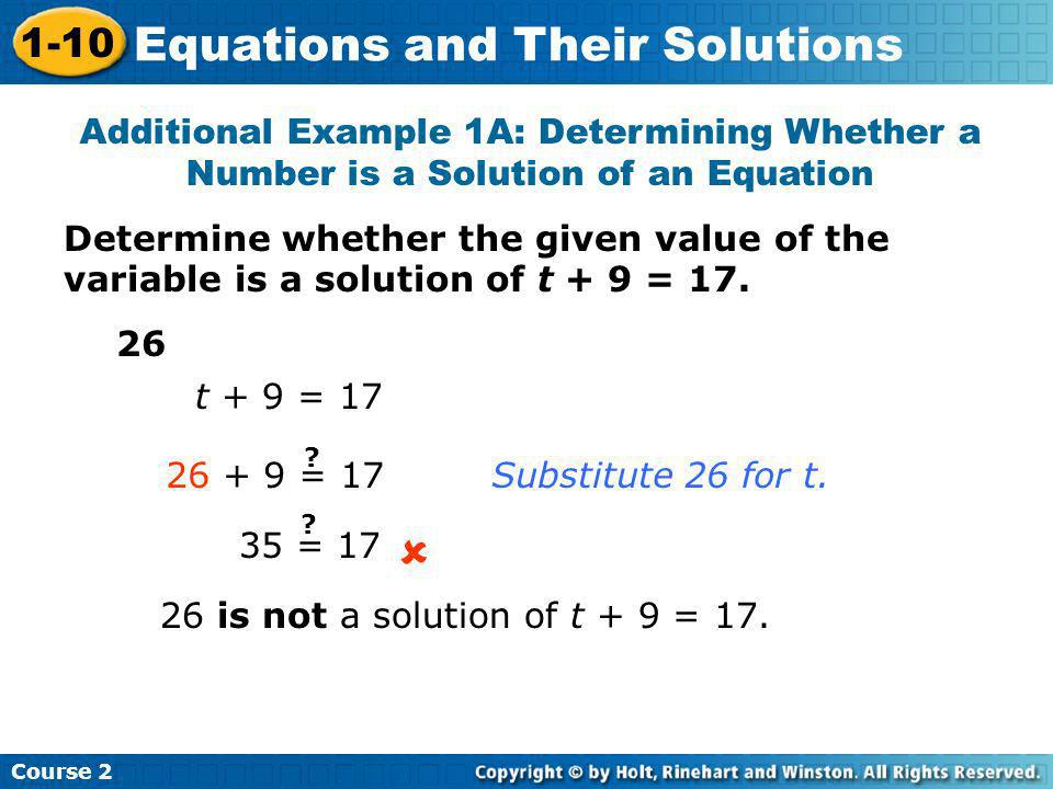  Equations and Their Solutions 1-10