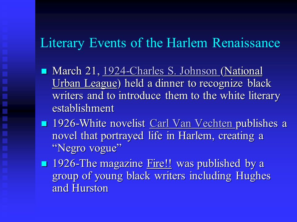 Literary Events of the Harlem Renaissance