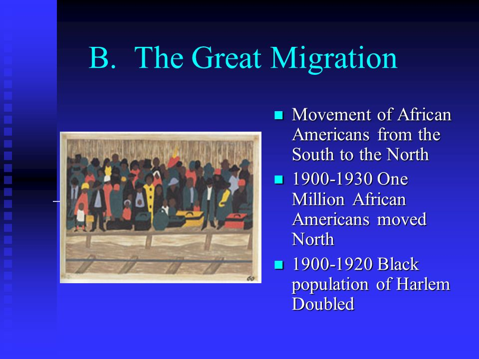 B. The Great MigrationMovement of African Americans from the South to the North. 1900-1930 One Million African Americans moved North.