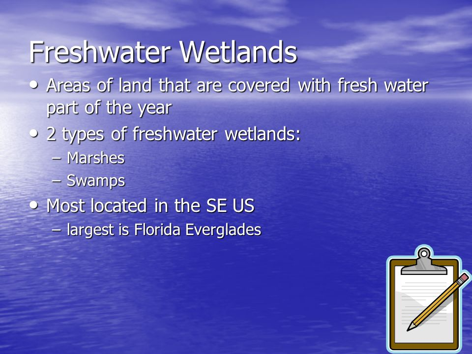 Freshwater WetlandsAreas of land that are covered with fresh water part of the year. 2 types of freshwater wetlands: