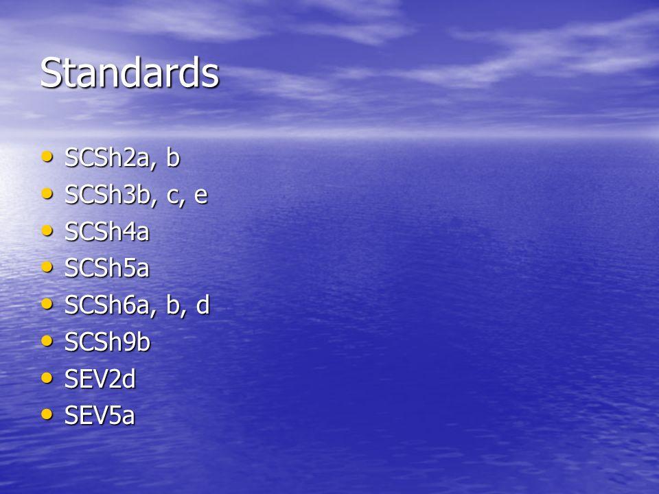 Standards SCSh2a, b SCSh3b, c, e SCSh4a SCSh5a SCSh6a, b, d SCSh9b