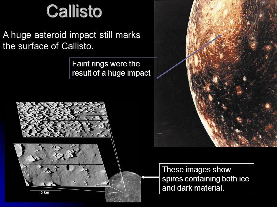Callisto A huge asteroid impact still marks the surface of Callisto.