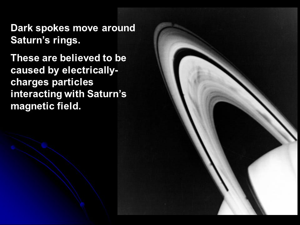 Dark spokes move around Saturn's rings.