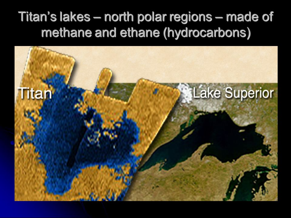 Titan's lakes – north polar regions – made of methane and ethane (hydrocarbons)