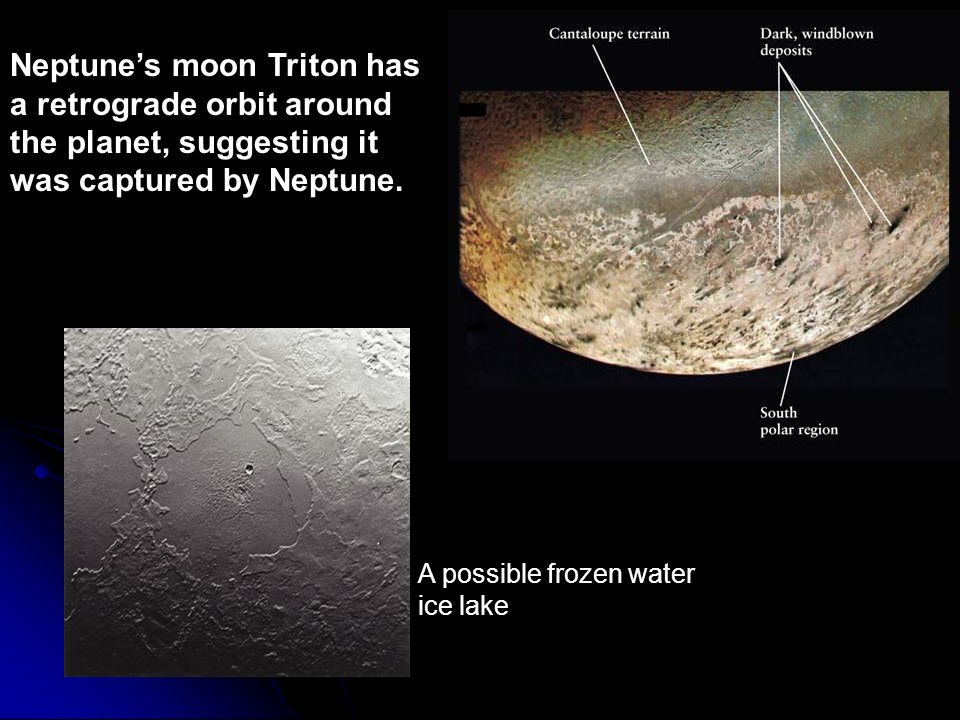 Neptune's moon Triton has a retrograde orbit around the planet, suggesting it was captured by Neptune.
