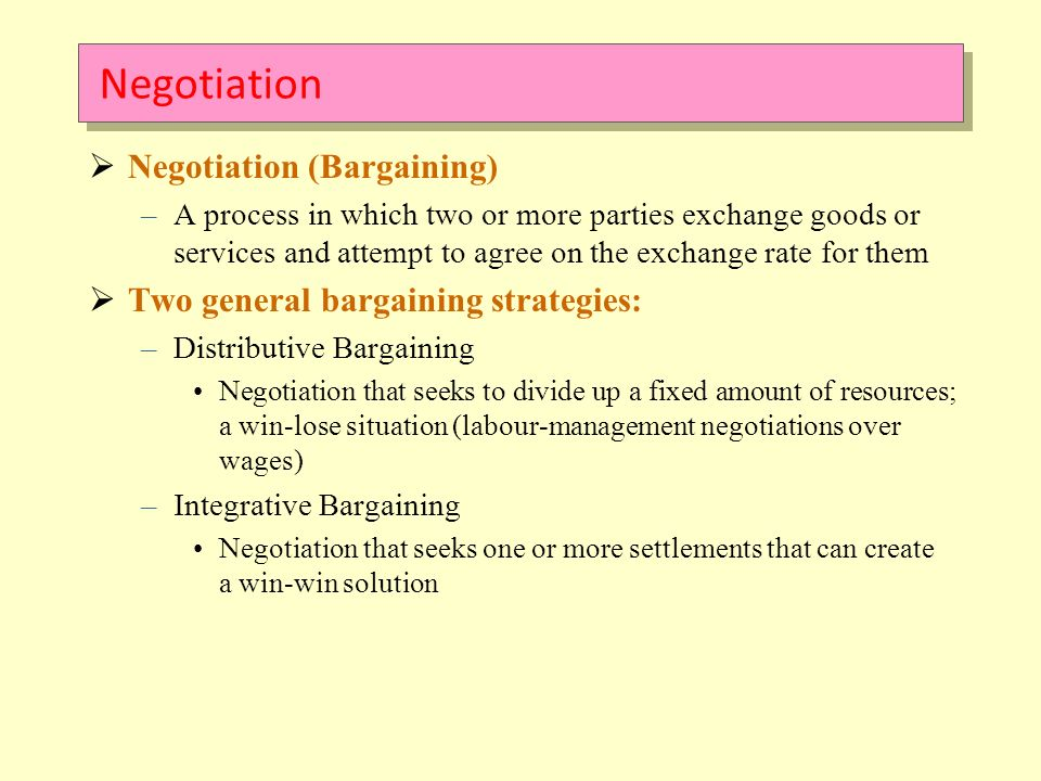 distributive bargaining Distributive bargaining is thought of as competitive, and integrative bargaining, where both sides try to expand the deal so everyone gets enough value, is thought of as cooperative purchasing a.