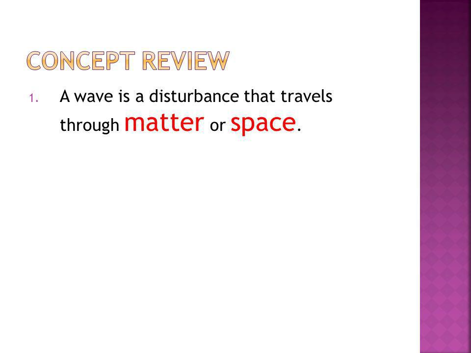 Concept Review A wave is a disturbance that travels through matter or space.