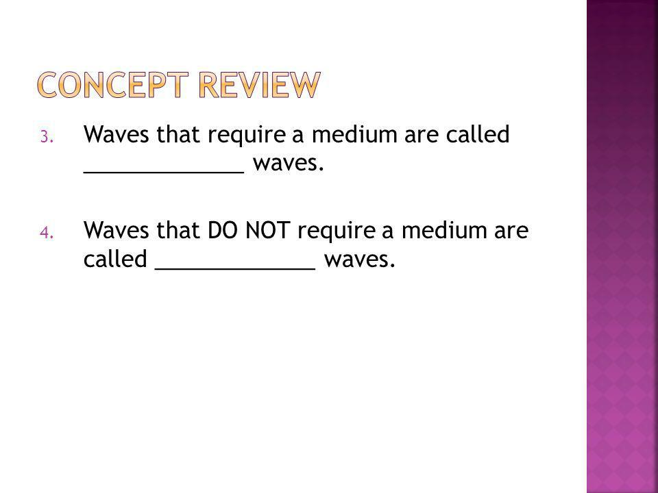 Concept Review Waves that require a medium are called _____________ waves.