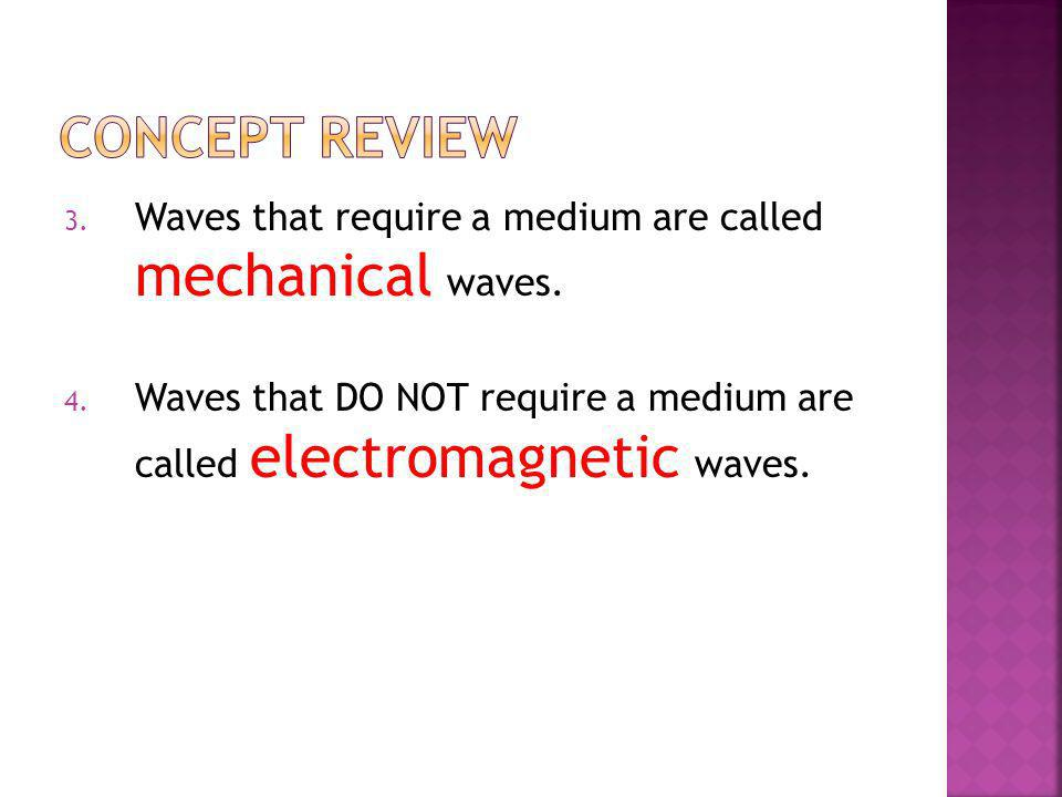 Concept Review Waves that require a medium are called mechanical waves.