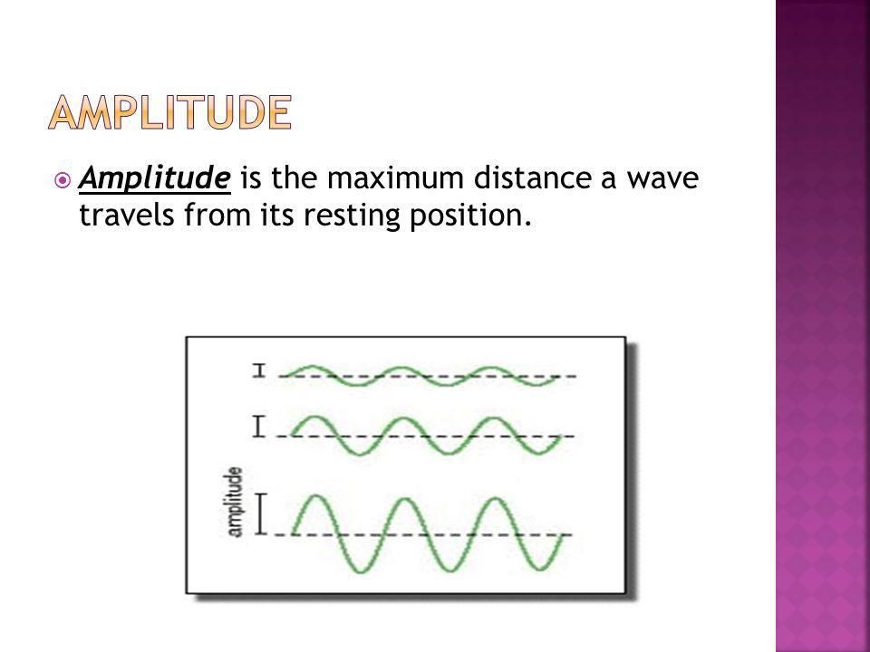 Amplitude Amplitude is the maximum distance a wave travels from its resting position.