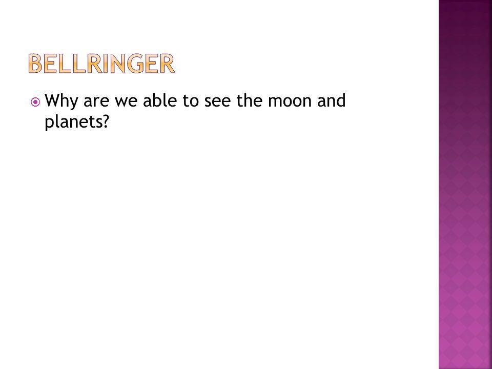 Bellringer Why are we able to see the moon and planets