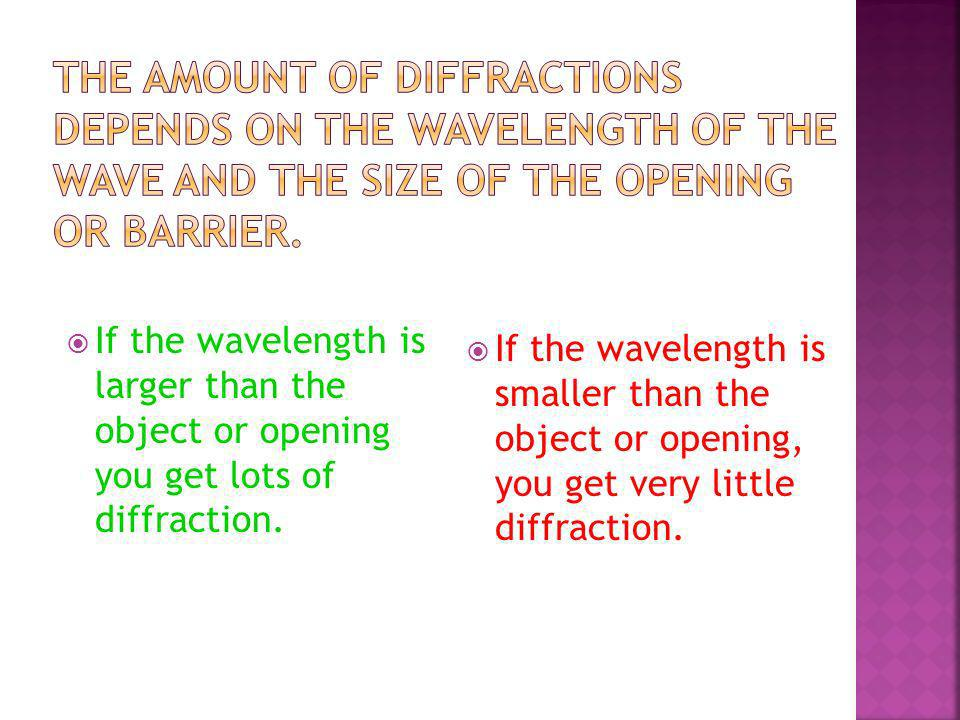 The amount of diffractions depends on the wavelength of the wave and the size of the opening or barrier.