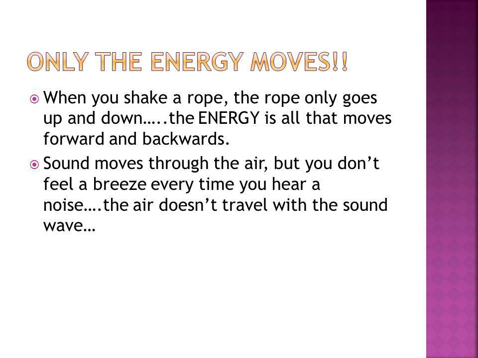 ONLY the Energy Moves!! When you shake a rope, the rope only goes up and down…..the ENERGY is all that moves forward and backwards.