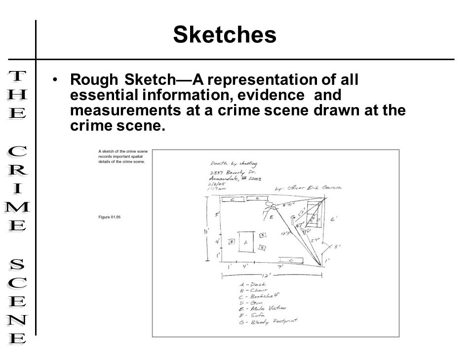 Sketches Rough Sketch—A representation of all essential information, evidence and measurements at a crime scene drawn at the crime scene.
