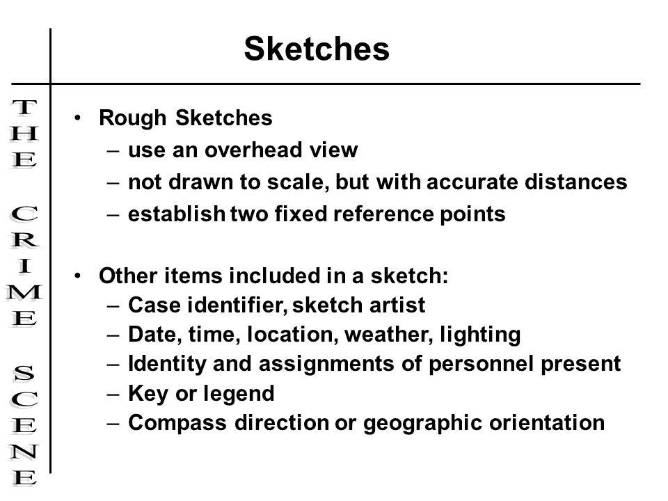 Sketches Rough Sketches use an overhead view
