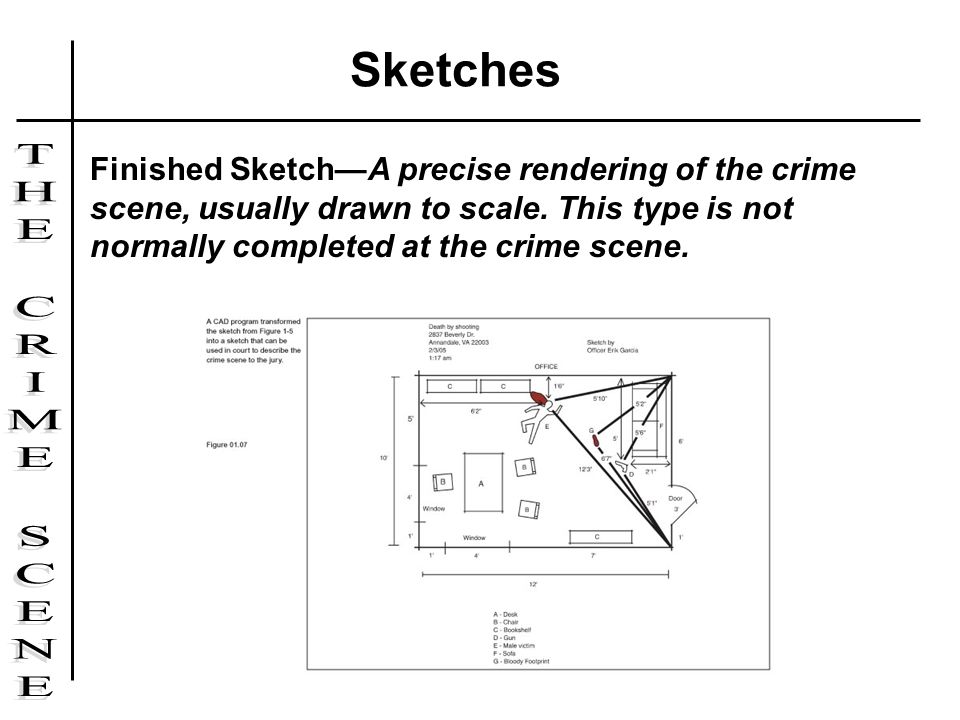 Sketches Finished Sketch—A precise rendering of the crime scene, usually drawn to scale.