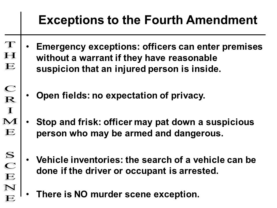 fourth amendment exceptions Category: essays research papers title: fourth amendment exceptions.