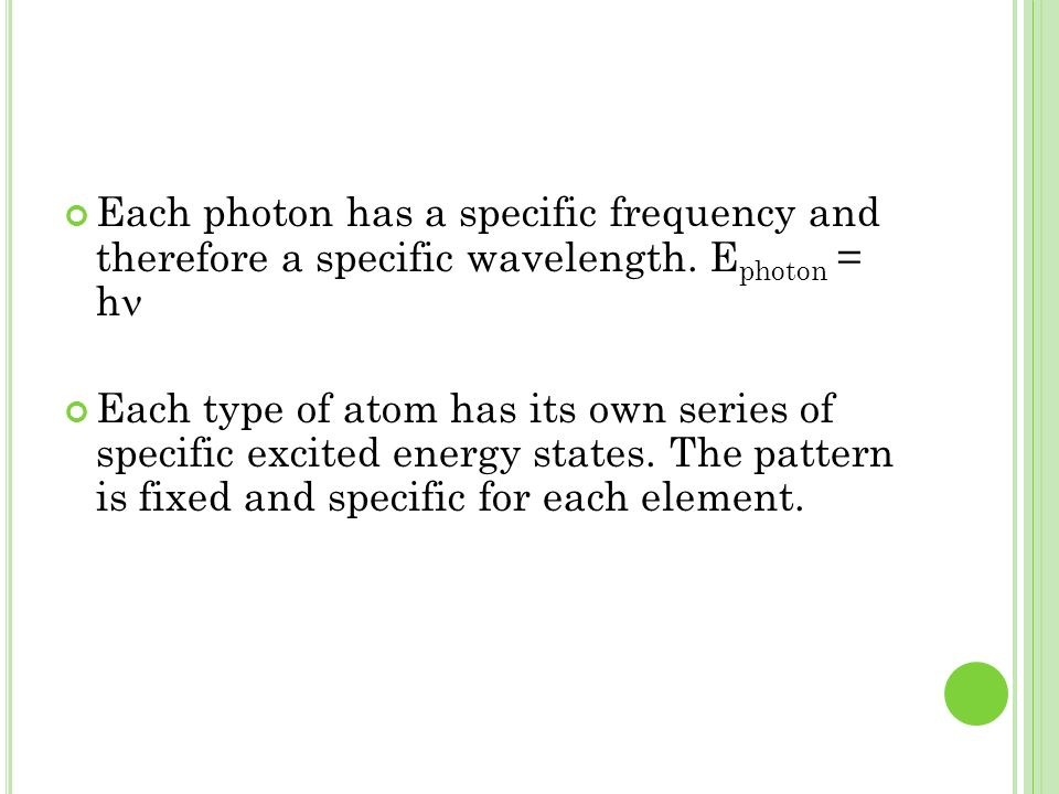 Each photon has a specific frequency and therefore a specific wavelength. Ephoton = hn
