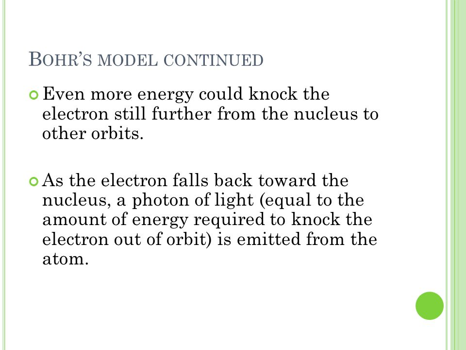 Bohr's model continued
