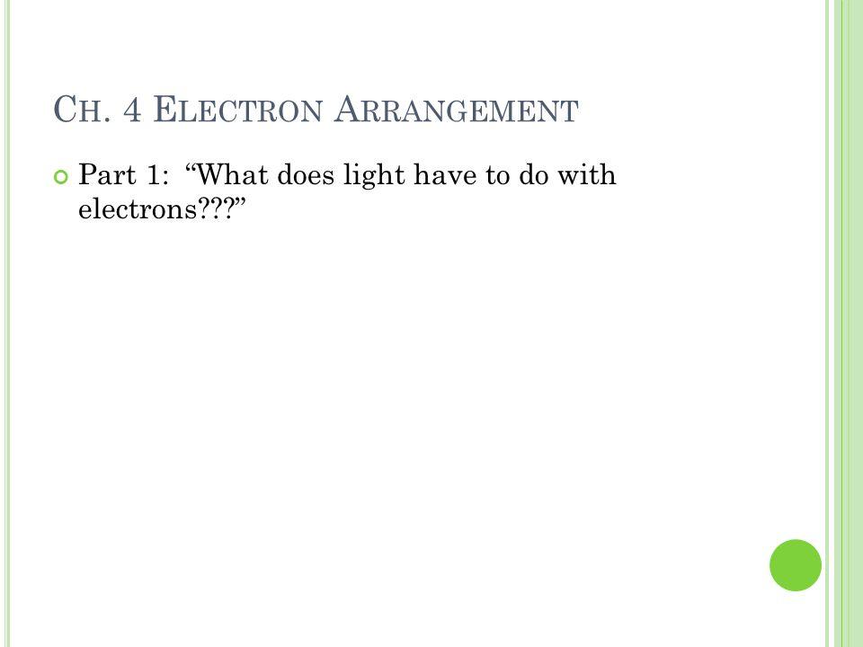 Ch. 4 Electron Arrangement