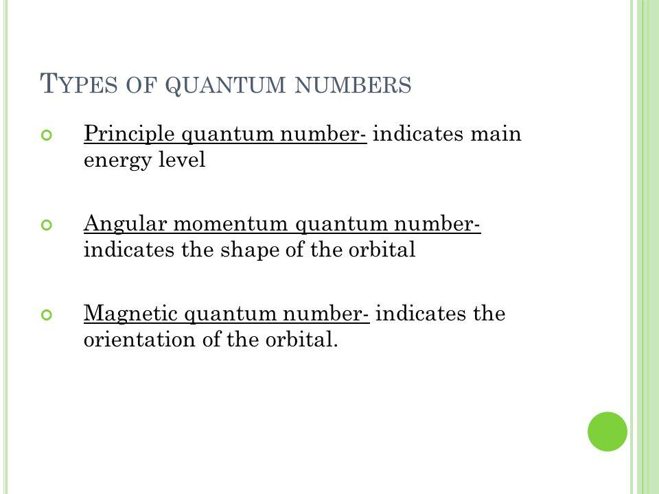 Types of quantum numbers
