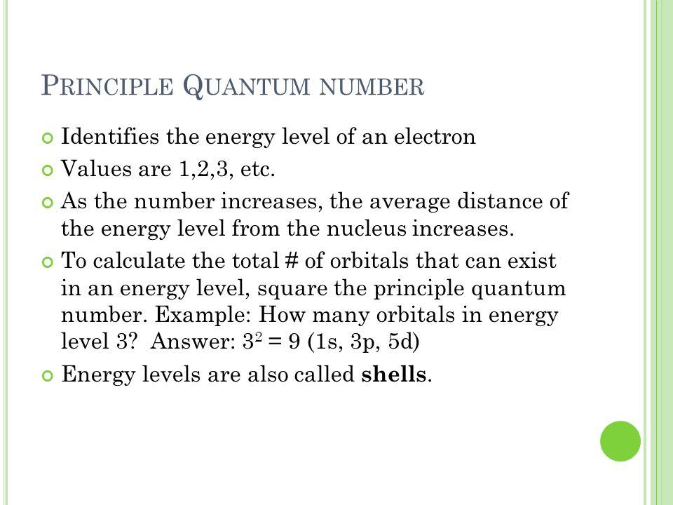 Principle Quantum number