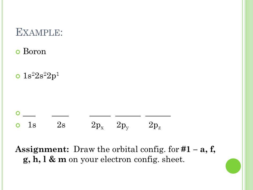 Example: Boron 1s22s22p1 ___ ____ _____ ______ ______
