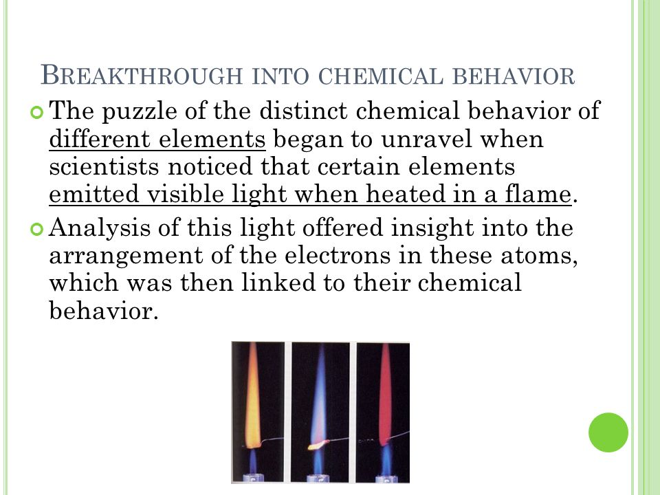 Breakthrough into chemical behavior