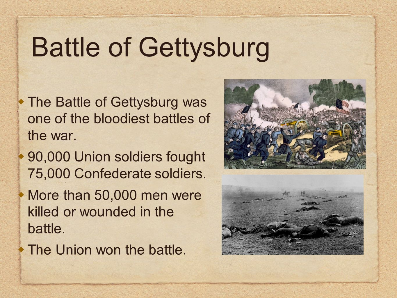 Battle of Gettysburg The Battle of Gettysburg was one of the bloodiest battles of the war.