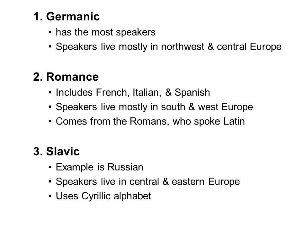 1. Germanic 2. Romance 3. Slavic has the most speakers