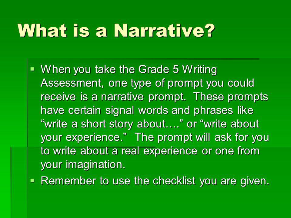 how to write parts of a narrative year 5