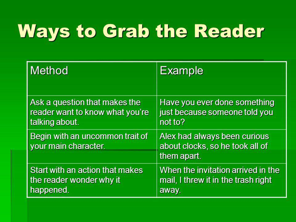 Ways to Grab the Reader Method Example
