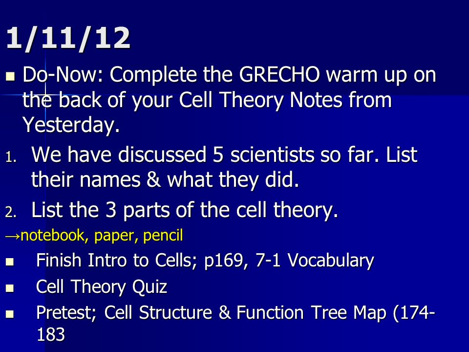 1/11/12 Do-Now: Complete the GRECHO warm up on the back of your Cell Theory Notes from Yesterday.
