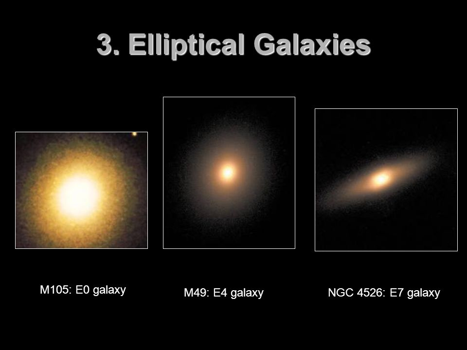 3. Elliptical Galaxies M105: E0 galaxy M49: E4 galaxy