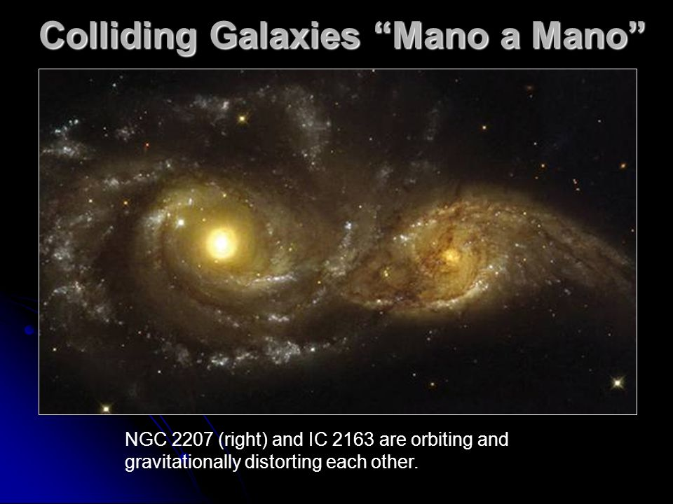Colliding Galaxies Mano a Mano