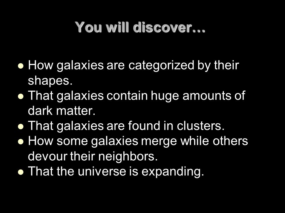 You will discover… How galaxies are categorized by their shapes.