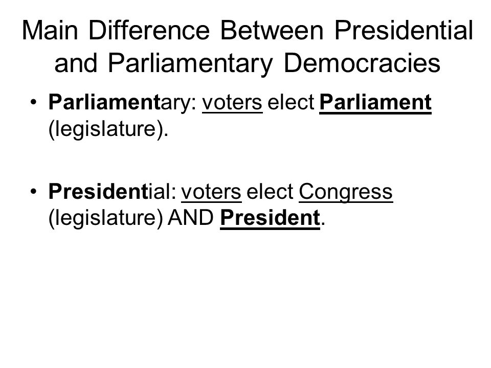 Main Difference Between Presidential and Parliamentary Democracies